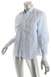 Paul Stuart Linen Button Down Shirt Blue