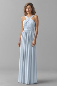 Watters Harbor Blue Crinkle Chiffon Micah 8543i Formal Bridesmaid/Mob Dress Size 2 (XS)