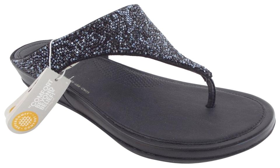 3776d5944bf045 FitFlop Black Crystal Beaded Thong Sandals Size US 8 Regular (M