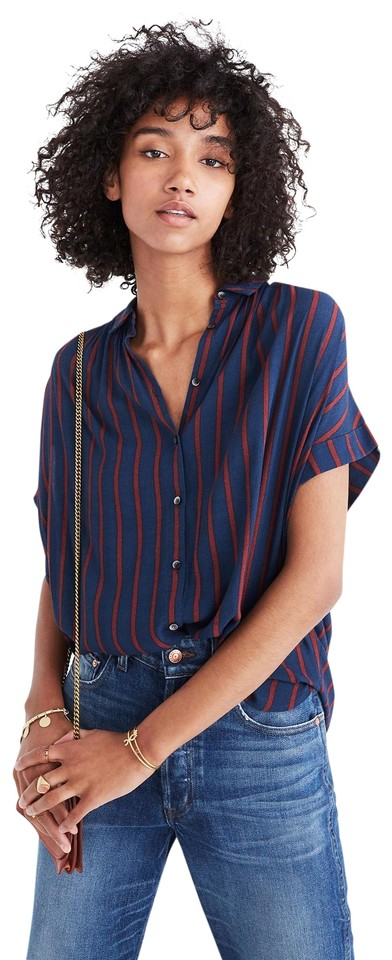 65dd3a3d3 Madewell Blue Red Central Drapey Shirt In Cornelia Stripe Button ...