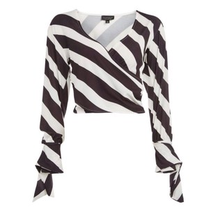 Topshop Striped Tie Cuffs Stripe Humbugg Top Black & White