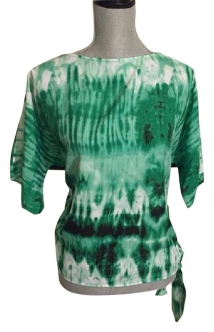 "Item - Green / White & ""Boho"" Tye Dye Tee Shirt Size 4 (S)"