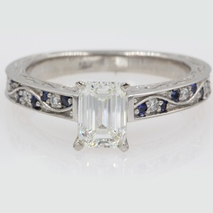 18k White Gold Vintage 1.40 Ct. Emerald with Sapphire Engagement Ring