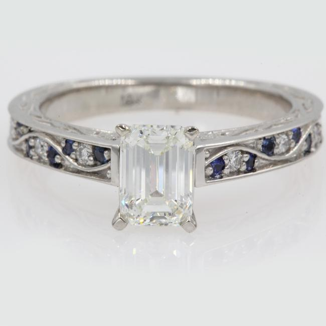 18k White Gold Vintage 1.40 Ct. Emerald with Sapphire Engagement Ring 18k White Gold Vintage 1.40 Ct. Emerald with Sapphire Engagement Ring Image 1