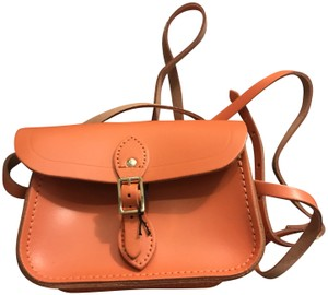 The Cambridge Satchel Company Leather Black And White Crossbody Small Satchel in Orange , Sunset