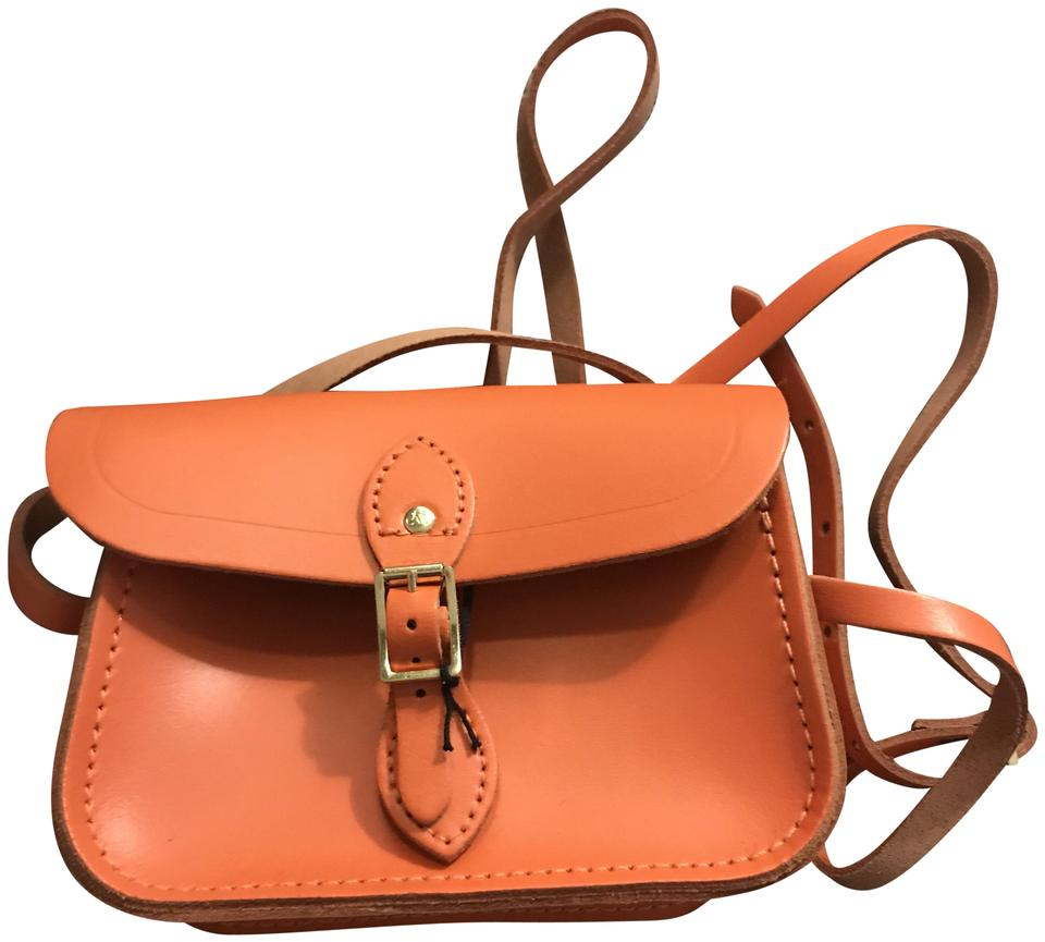 01b7cd8ad88a7 The Cambridge Satchel Company Leather Black And White Crossbody Small  Satchel in Orange