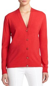 Tory Burch Spring Outerwear Summer Cardigan Summer Spring Beach Cover Summer Cover Button Down Shirt red pepper