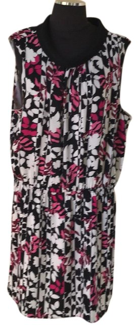 Item - Pink / White /Black Mock Mid-length Work/Office Dress Size 16 (XL, Plus 0x)