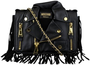 6d88c483fc Added to Shopping Bag. Moschino Leather Gold Hardware Snap Shoulder Bag. Moschino  Medium Motorcycle Jacket Black ...