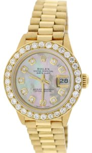 Rolex Rolex President Datejust Ladies Gold w/MOP Diamond Dial & 1.35Ct Bezel