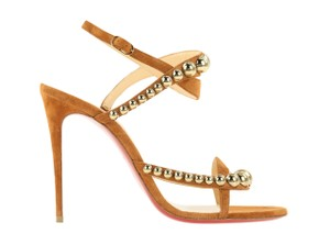 Christian Louboutin Suede Leather Gold Hardware Brown Sandals