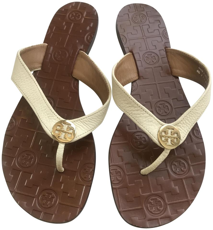Tory Burch Monroe White and Brown Leather Monroe Burch Sandals fd7fed