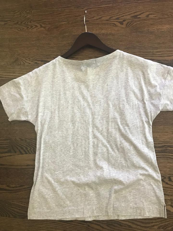 71a8c6da1 J.Crew Heather Grey with White Embroidery & Gold Trim Tee Shirt Size 2 (XS)  52% off retail