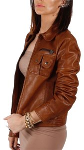 Theory Motorcycle Brown Leather Jacket
