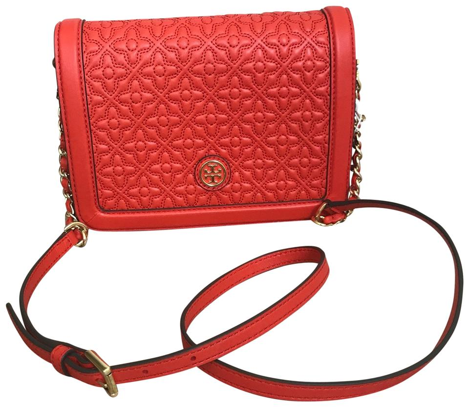 8b9b89e2385 Tory Burch Bryant Quilted Combo Red ( Samba) Leather Cross Body Bag ...