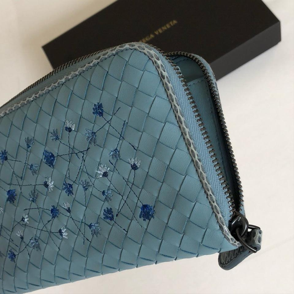 00992f2d39ab Bottega Veneta Blue Grey Intrecciato Meadow Flower Wallet - Tradesy
