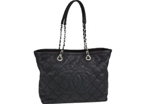 Chanel Gst Grand Shopping Caviar Leather Classic Flap Neverfull Tote in Black