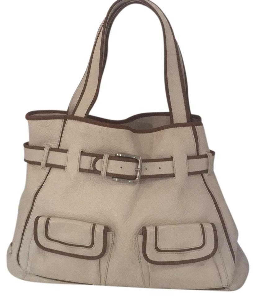 e62c0fbc76 Cole Haan Tote Creme/Brown Pebbled Leather Shoulder Bag - Tradesy