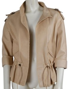 Zenobia Casual Beige Leather Jacket