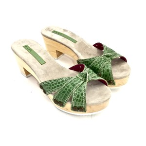 Marc Jacobs Crocodile Embossed Leather Green Mules