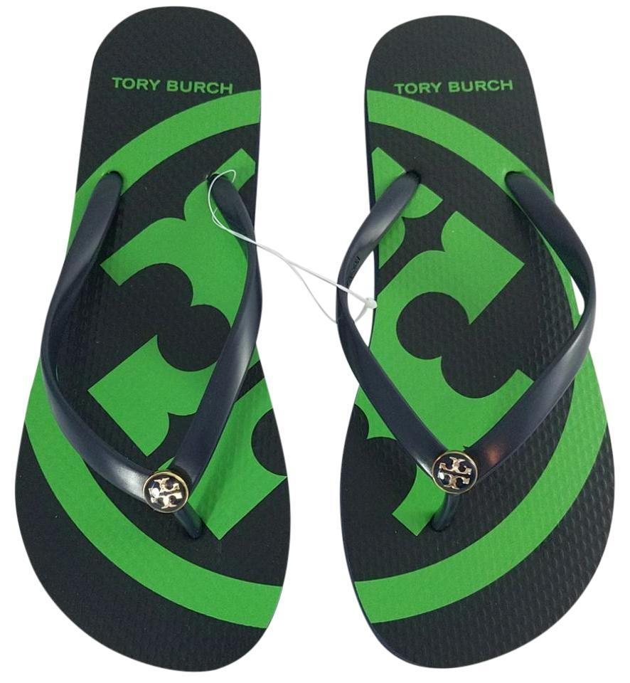 a7417d27426 Tory Burch Navy Blue Green New Flats Summer Logo Flip Flops Sandals ...