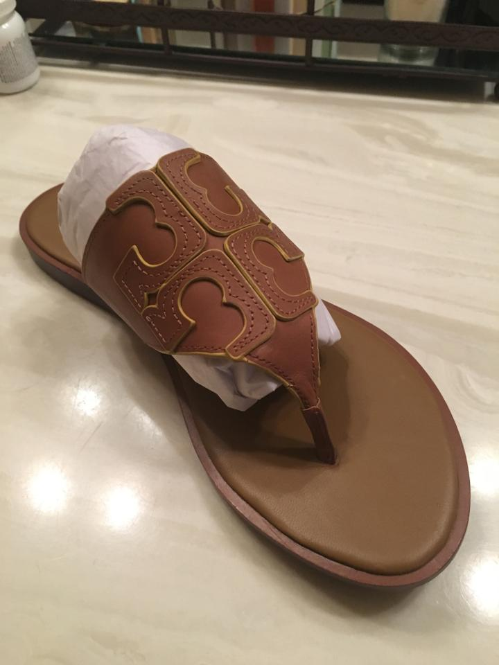 be85efdace64 Tory Burch Logo Flip Flop Leather Flat Royal Tan Marigold Sandals. 123456789
