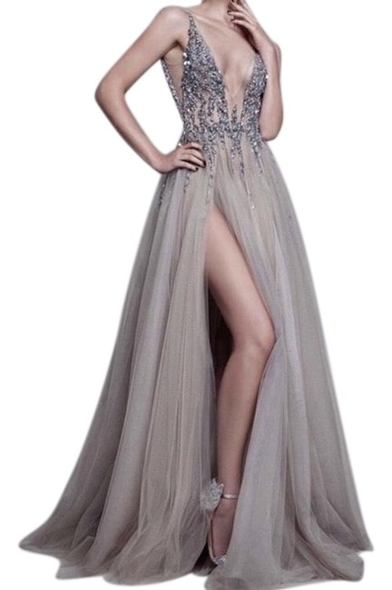 Item - Gray Inspired Bejeweled Gown Long Formal Dress Size 6 (S)