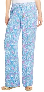 Lilly Pulitzer Wide Leg Pants Blue, Pink, White