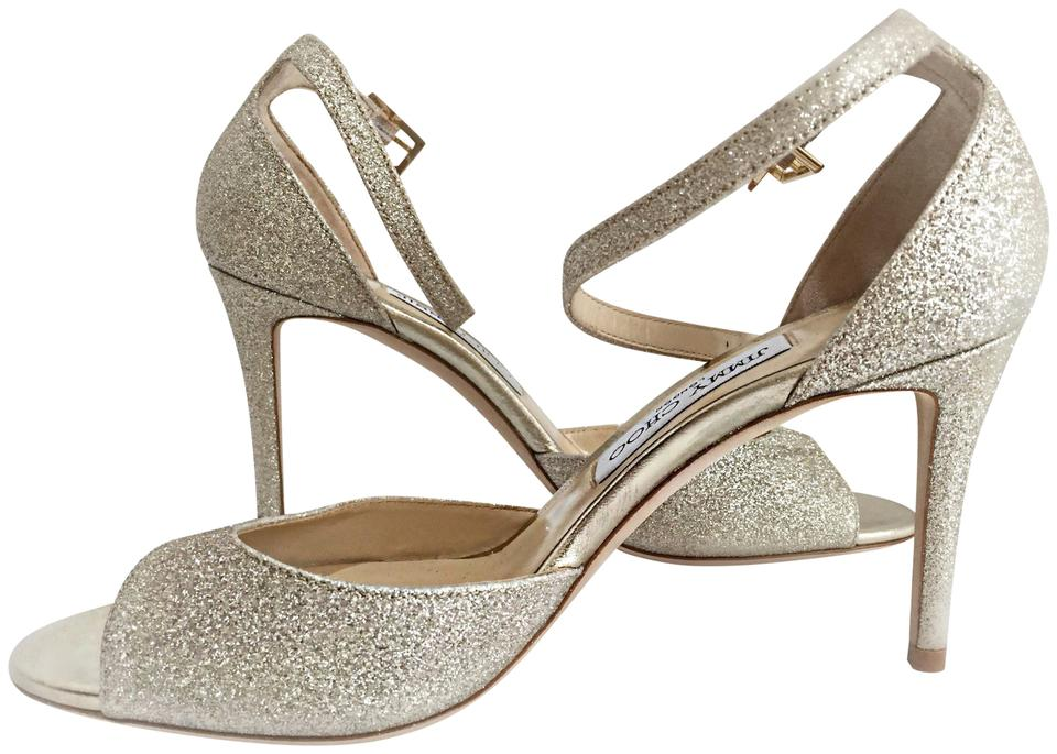 e15a6a6228de Jimmy Choo Gold Annie 85  Platinum Ice Dusty Glitter Peep Toe Sandals  Formal Shoes