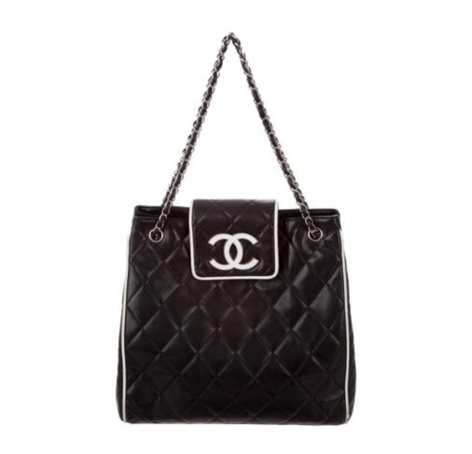 59593fd7e792e1 Chanel Quilted Lambskin Rare Tote in Black and White Image 0 .