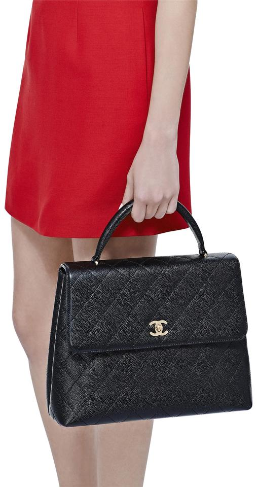 2f2effe456 Chanel Bag with Top Handle Kelly Flap Black Caviar Leather Tote ...