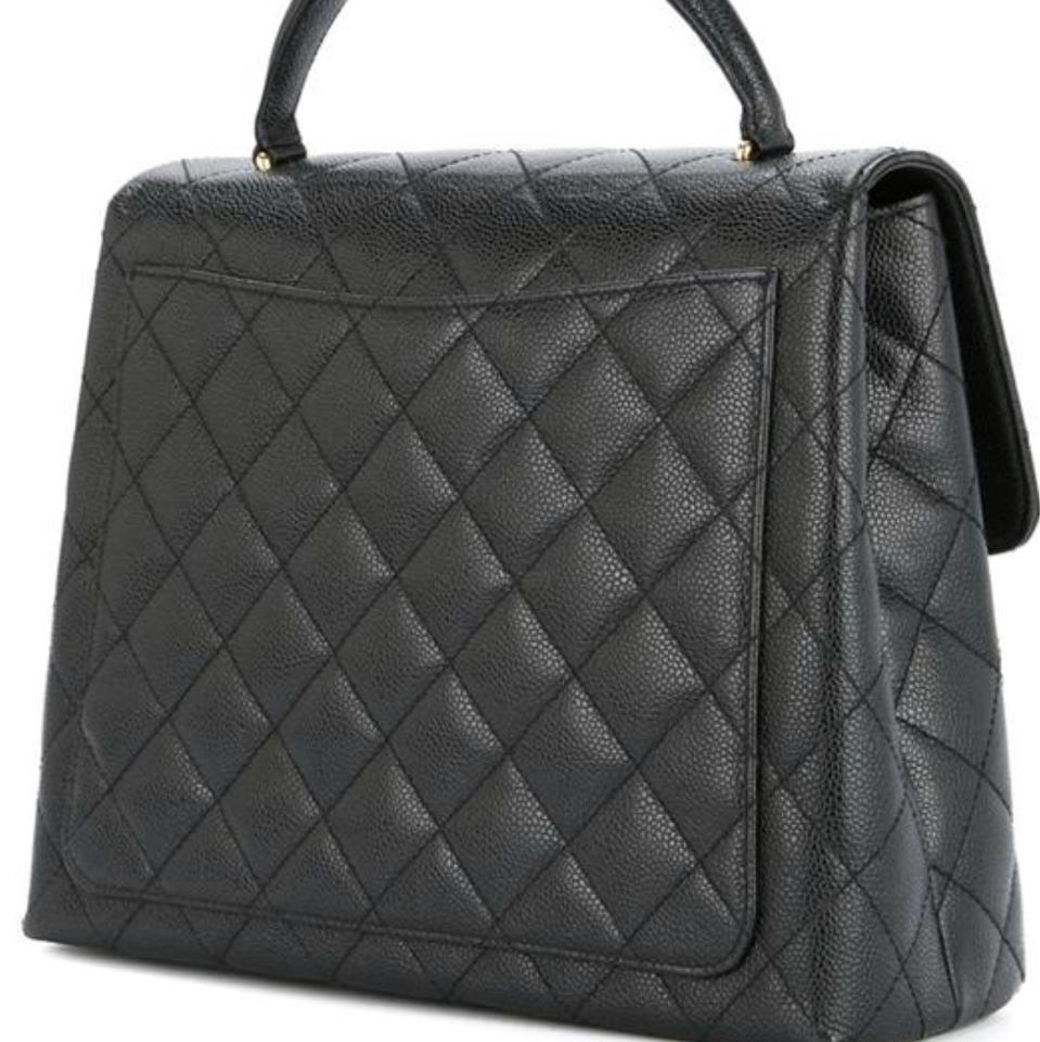 0eac7e7cd6 Chanel Bag with Top Handle Kelly Flap Black Caviar Leather Tote ...