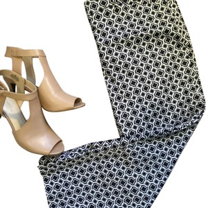 Jones New York Ankle Geometric Patterned Stretchy Straight Pants Navy & White
