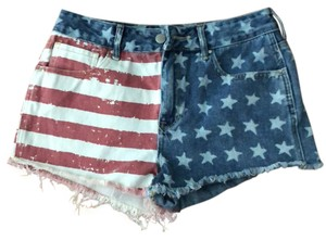 Bullhead Denim Co. Cut Off Shorts Denim with Red and White