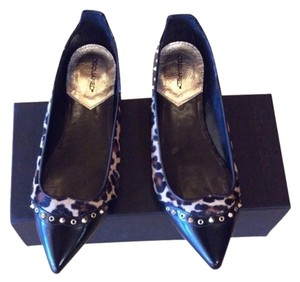 Dsquared2 Black Leather, Leopard Studs Flats