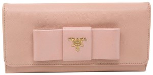 Prada Classic Saffiano Ribbon Logo Leather Bow Long Wallet