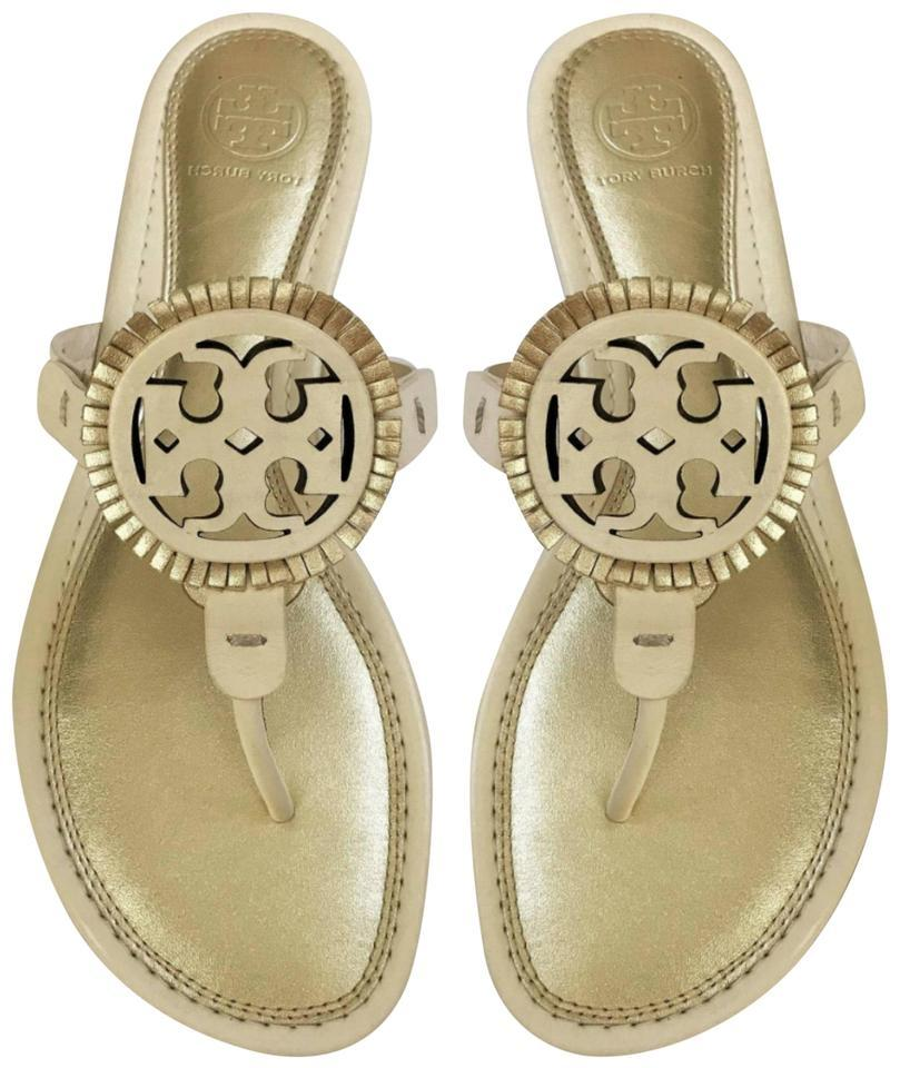 9edb0b5d87e Tory Burch Gold White New Flat Miller Fringe Leather Logo Summer Sandals.  Size  US 6 Regular (M ...