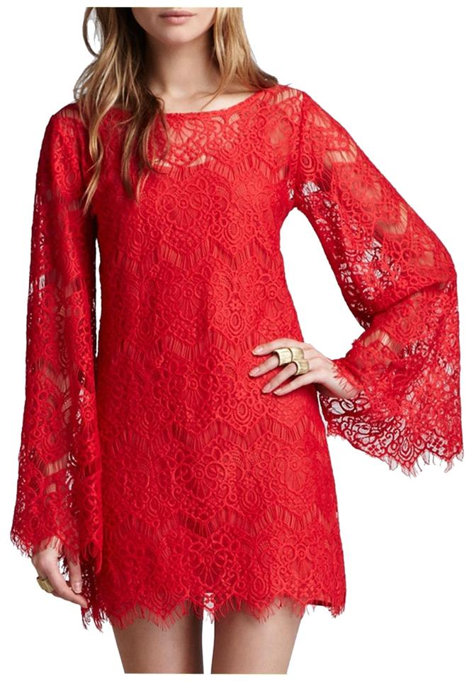 e1207c0fa9f1 Alexis Red Katarina Stassi Sheer Lace Bell-sleeve Tunic Cover-up M ...