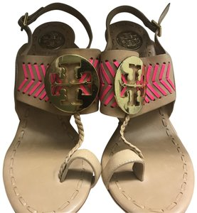 Tory Burch Crepe, Sand w/Hot Pink Stitching Sandals