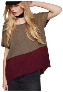 Free People T Shirt Brown and Maroon