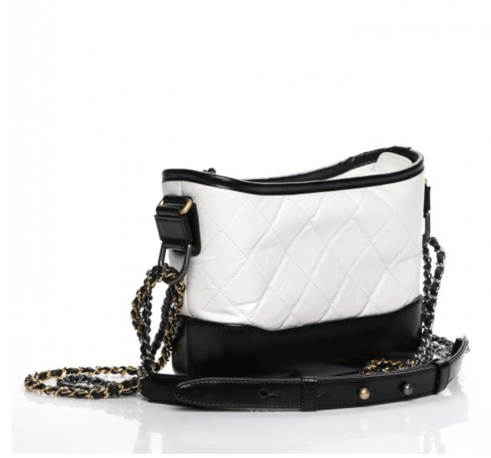 a87f22f58a28 Chanel Gabrielle Aged Calfskin Quilted Small Black/White Leather Hobo Bag -  Tradesy