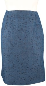 Valentino Textured Taffeta Pencil Embroidered Pleated Skirt Blue