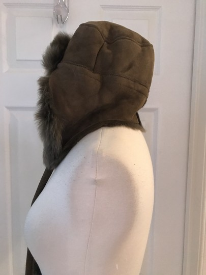 J.Crew J.CREW TOSCANA SHEARLING TRAPPER HAT WITH POMPOM OLIVE SIZE M Image 1