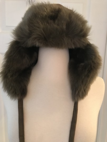 J.Crew J.CREW TOSCANA SHEARLING TRAPPER HAT WITH POMPOM OLIVE SIZE M Image 2