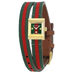 Gucci G-Frame Red Green Dial Ladies Wrap Around Watch
