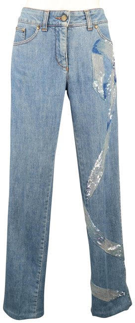 Item - Blue Light Wash Beaded Sequin Straight Leg Jeans Size 27 (4, S)