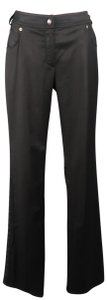 Dior Grommet Trim Buckle Stretch Boot Cut Pants Black