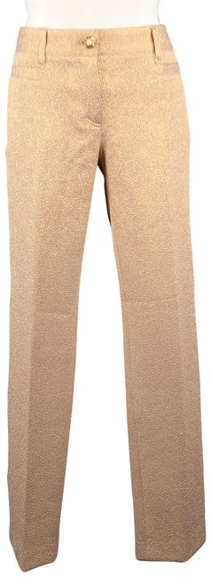 Dolce&Gabbana Metallic Textured Dress Pearl Straight Pants Rose