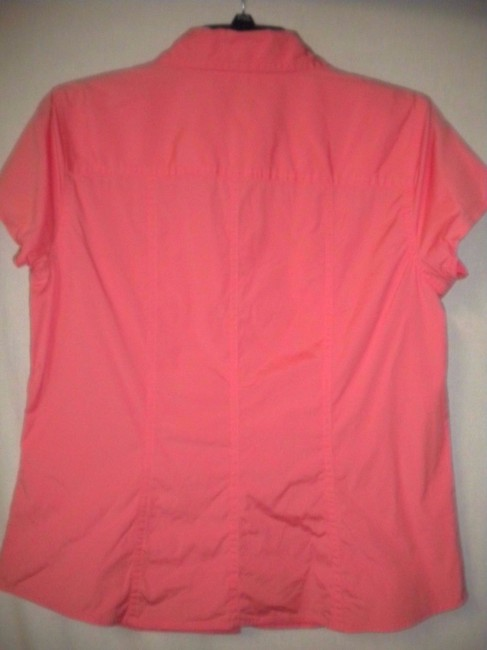 Talbots Short Sleeve Stretch Button Front Button Down Shirt Orange