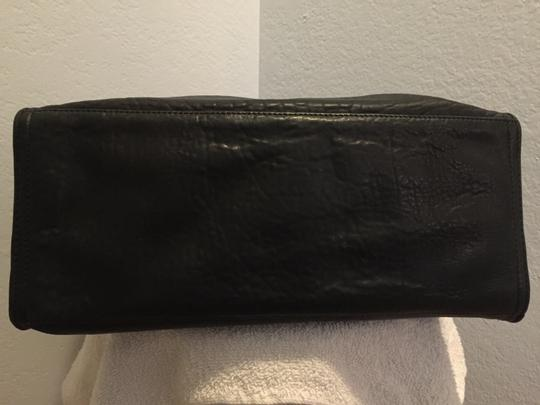 Saks Fifth Avenue Magazine Buckle Leather Grommet Tote in Black